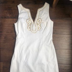 Lilly Pulitzer white dress w/ gold embellishments